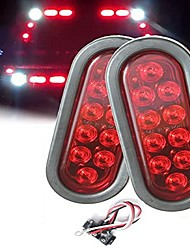 cheap -2Pcs 4W 10LED Oval Trailer Lights Super Bright Red Brake Turn Stop Marker Reverse Tail Lights with Waterproof Rubber Gaskets for Boat Trailer Truck RV