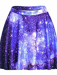 cheap -womens summer plus size stretchy plaid print pleated mini skirts  3x large  sky blue