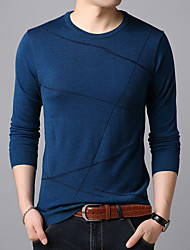 cheap -Men's Cardigan Pullover Sweater Knitted Braided Striped Geometric Stylish Wedding Acrylic Fibers Long Sleeve Sweater Cardigans Crew Neck Fall Winter Blue Green Red