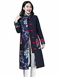 cheap -womens cotton padded trench coats plus size traditional chinese winter jackets vintage robe cheongsams button outwear(medium,navy 2)