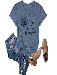 cheap -womens dandelion graphic t-shirts casual summer letter print blouse just breathe shirts (blue, small)