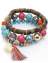 cheap -Women's Bead Bracelet Wrap Bracelet Vintage Bracelet Stacking Stackable Fashion Vintage Theme Vintage Boho Leather Bracelet Jewelry Blue / Red / Ivory For Christmas Halloween Gift Festival