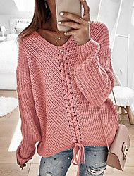 cheap -Women's Casual Knitted Solid Colored Pullover Long Sleeve Sweater Cardigans V Neck Spring Fall Wine Red Black Yellow