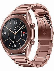 cheap -watch bands compatible with samsung galaxy watch 3 band 41mm mystic bronze stainless steel metal galaxy watch 3 bands business strap accessories