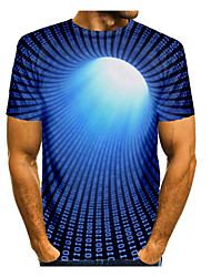 cheap -Men's T shirt 3D Print Graphic Abstract 3D Print Short Sleeve Daily Tops Round Neck Black Blue Red