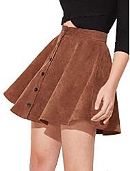 cheap -women's button up flare a-line corduroy skater cord short skirt brown
