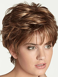 cheap -Synthetic Wig Curly Pixie Cut Wig Short Light Brown Brown Synthetic Hair Women's Fashionable Design Cool Highlighted / Balayage Hair Brown