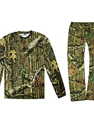 cheap -Men's Hiking Hat Camouflage Hunting Pants Camouflage Hunting T-shirt Outdoor Windproof Ultra Light (UL) UV Protection Quick Dry Spring Camo / Camouflage Top Bottoms Clothing Suit Polyester Taffeta
