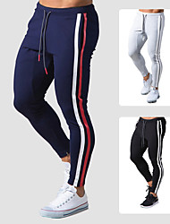 cheap -Men's Sweatpants Joggers Jogger Pants Street Bottoms Drawstring Cotton Winter Fitness Gym Workout Running Training Exercise Thermal Warm Breathable Soft Sport Stripes Solid Colored Black Dark Navy