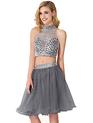 cheap -Two Piece Sexy Sparkle Homecoming Cocktail Party Dress Halter Neck Sleeveless Knee Length Chiffon Organza with Pleats Crystals 2020