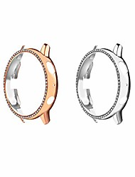 cheap -2-pack protector case compatible with samsung galaxy watch active 2 44mm, crystal diamonds plate hard bumper bling case protective frame cover decoration accessory - silver & rose gold