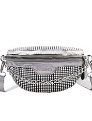 cheap -Women's Bags Polyester Fanny Pack / Sling Shoulder Bag Crystals Chain for Daily / Going out Black / Silver