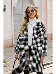 cheap -Women's Coat Houndstooth Basic Fall & Winter Peaked Lapel Long Daily Long Sleeve Wool Coat Tops Black
