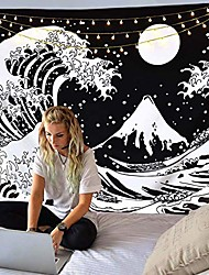 """cheap -japanese ocean wave tapestry,kanagawa the great wave tapestry with moon tapestries,large sun black and white tapestry for living room bedroom dorm & #40;great wave, 59.1"""" x 78.8""""& #41;"""
