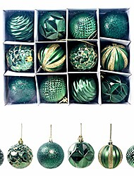 cheap -12pcs shiny christmas ball with storage box home party xmas tree hanging decor xmas party garden tree decorations hanging balls - green