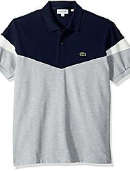 cheap -men's short sleeve classic fit pique colorblock polo, pluvier chine/navy blue/f, xxx-large