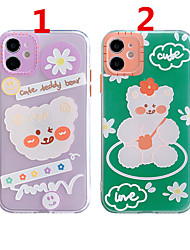 cheap -Case For Apple Scene Map iPhone 12 12 Pro 11 Pro Max Fine Hole Contrast Button Series Flower Bear Pattern Thick TPU Material Mobile Phone Case OS