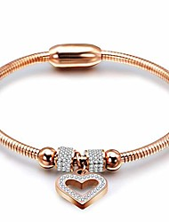 cheap -stainless steel magnetic clasp hart charm cubic zircon anniversary valentine bangle bracelet (rose gold)