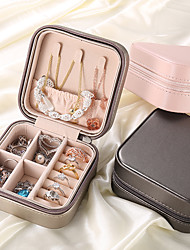 cheap -Multifunctional Jewelry Box Transparent Storage Ring Display Lady Case Portable Organizer