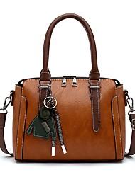 cheap -Women's Bags PU Leather Satchel Top Handle Bag Zipper Date Office & Career 2021 Handbags Black Blushing Pink Green Brown