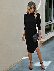 cheap -Women's Sheath Dress Knee Length Dress - Long Sleeve Solid Color Split Lace up Button Fall Casual 2020 Black Purple Wine Green S M L XL