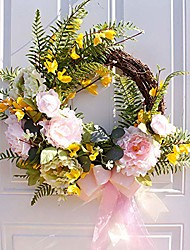 cheap -artificial spring garden peony artificial hanging flower wreath fake leaves wreath hanging wall window party decoration for the front door, home decor in summer and fall, weddings