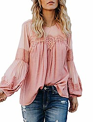 cheap -womens long sleeve chiffon blouses sexy solid lace o neck see through casual shirt tunic tops (pink, xxlarge)