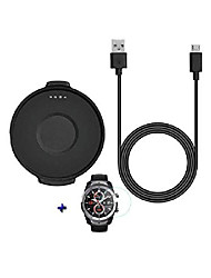 cheap -for ticwatch pro watch charger + 1pc hydrogel film, 60cm(24in) replacement usb charging cable cord durable charger cradle adapter charger dock station for ticwatch pro smart watch (black)