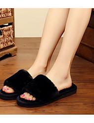 cheap -Women's Slippers & Flip-Flops Fuzzy Slippers Indoor Slippers Flat Heel Open Toe Sweet Daily Home Faux Fur Color Block Black