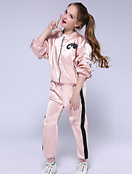 cheap -Kids Girls' Clothing Set Long Sleeve Blushing Pink Solid Colored Active Streetwear