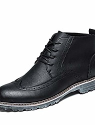 cheap -tiandaomxl men's leather high top boots formal dress shoes fleece lined wingtip lace up round toe waterproof shoes (color : black fleece lined, size : 7.5 m us)