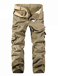 cheap -Men's Active Basic Outdoor Cotton Dailywear Daily Sports Chinos Tactical Cargo Fit Pants Solid Colored Full Length Multi Pocket Black Army Green Khaki