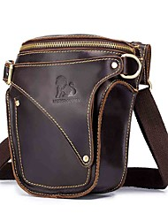 cheap -Unisex Bags Cowhide Fanny Pack Zipper 2020 Daily Outdoor Black Brown