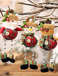 cheap -Christmas New Plaid Cloth Beads Leg Pendants Christmas Window Decoration Cartoon Little Doll Ornaments