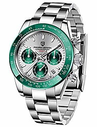 cheap -men's watches full stainless steel analogue quartz wrist watch for men daytona homage luxury waterproof dress wristwatch auto date (green grey)