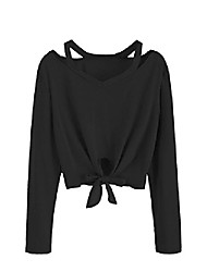 cheap -women's crop t-shirt tie front long sleeve cut out casual blouse top (small, 2black)
