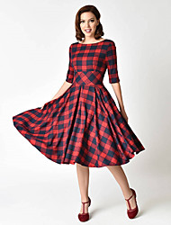 cheap -Women's Swing Dress Knee Length Dress Red Half Sleeve Color Block Backless Fall Winter Round Neck Casual 2021 S M L XL XXL