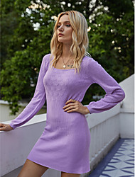 cheap -Women's Sweater Jumper Dress Short Mini Dress - Long Sleeve Solid Color Fall Winter Square Neck Casual Elegant Going out Cotton 2020 Purple S M L XL