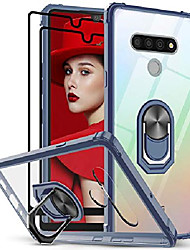 cheap -lg stylo 6 case, lg stylo 6 phone case with tempered glass screen protector [2 pack],  [military grade] clear crystal shockproof phone case with magnetic car ring kickstand for lg stylo 6, blue