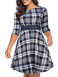 cheap -women's 3/4 sleeve embroidery party dress plus size vintage cocktail swing dress nem216 (16w, navy grid)