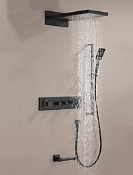 cheap -Shower Faucet / Rainfall Shower Head System Set - Handshower Included Dual-Head Fixed Mount Contemporary Electroplated Ceiling Mounted Ceramic Valve Bath Shower Mixer Taps