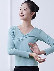 cheap -Ballet Top Ruching Solid Women's Training Performance Long Sleeve Natural Cotton Blend