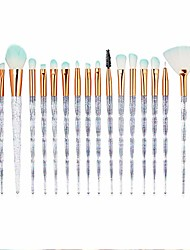 cheap -20pcs diamond makeup brushes set fan powder eyeshadow contour beauty cosmetic colorful for make up tool(white)