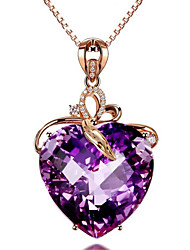 cheap -Women's Amethyst Pendant Necklace Classic Heart Fashion Copper Imitation Diamond Purple 45+5 cm Necklace Jewelry 1pc For Anniversary Party Evening Gift