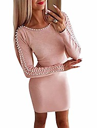 cheap -women's sexy pearls beaded dresses high neck long sleeve bodycon party cocktail club mini dress pink