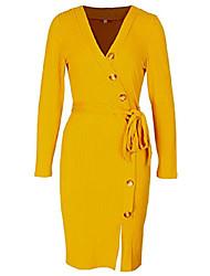cheap -women midi dress v neck long sleeve sheath dress sexy bodycon knit dress (us l=tag size xl, yellow)