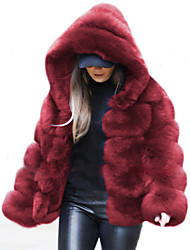 cheap -Women's Solid Colored Fall & Winter Faux Fur Coat Regular Daily Long Sleeve Faux Fur Coat Tops Sapphire