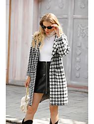 cheap -Women's Houndstooth Basic Fall & Winter Peaked Lapel Coat Long Daily Long Sleeve Wool Coat Tops Black