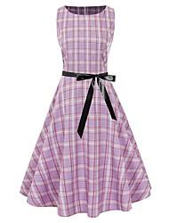 cheap -Women's A Line Dress Midi Dress Black Purple Red Green Sleeveless Plaid Lace up Print Summer Round Neck Vintage Christmas 2021 S M L XL XXL
