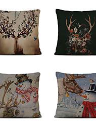 cheap -Set of 4 Linen Pillow Cover Cartoon Traditional Christmas Throw Christmas Elk Snowman Pillow 45*45cm